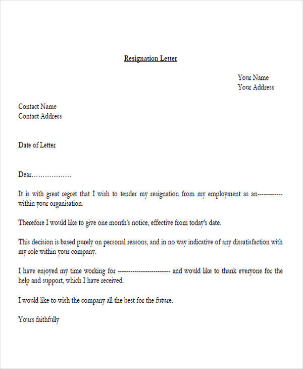 33  resignation letters samples  u0026 templates in pdf