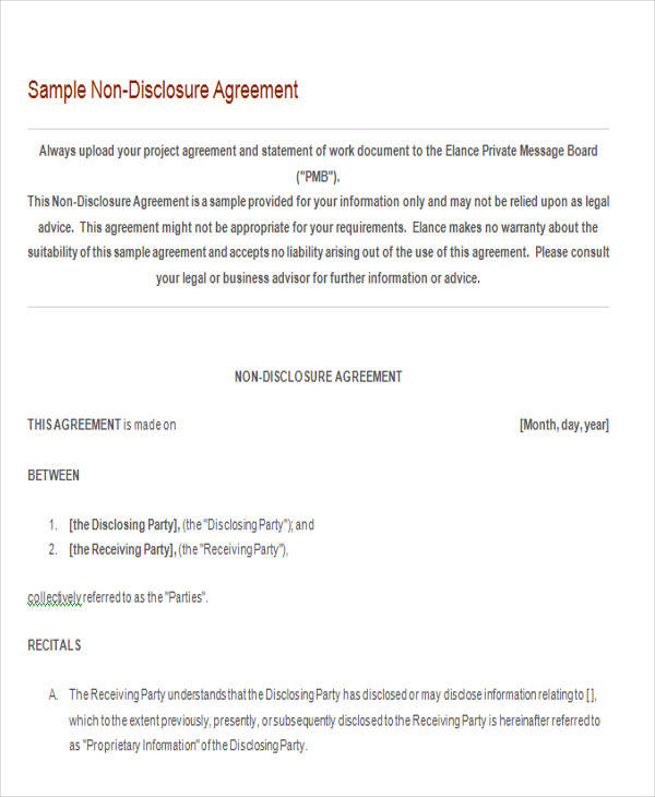 basic non disclosure agreement form