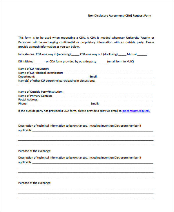 basic non disclosure agreement request form