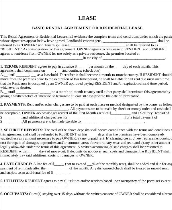 basic rental agreement letter