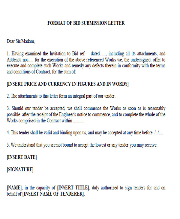 bid submission proposal letter