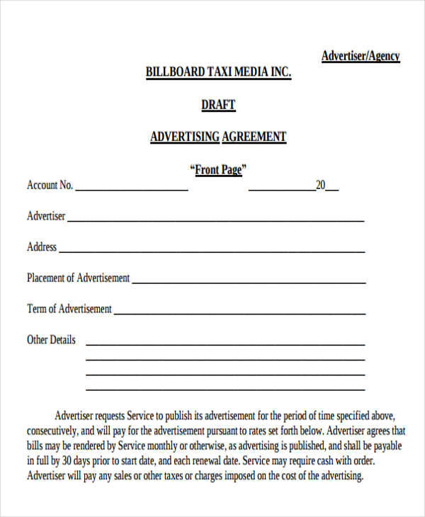 Sample Advertising Contract Agreements   Examples In Word Pdf