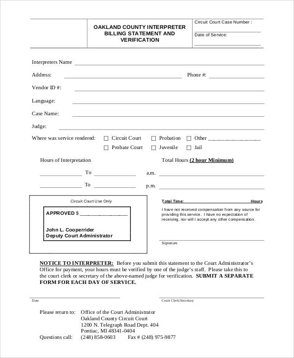 Printable Statement Form