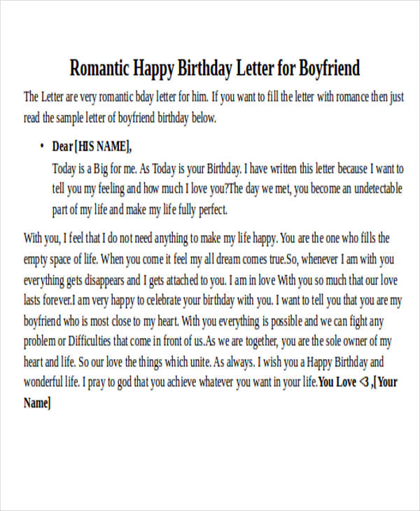 happy birthday letters for him letter examples 11553