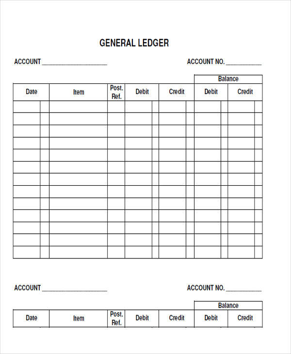 blank accounting ledger form