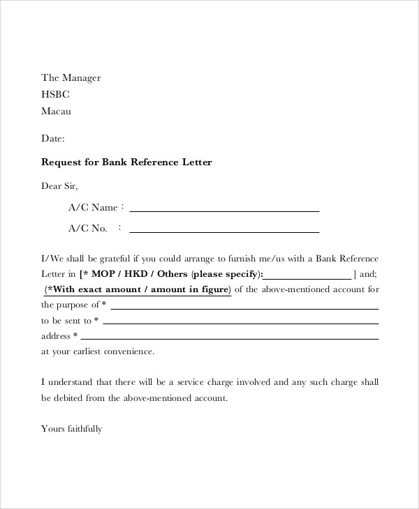 blank bank reference letter