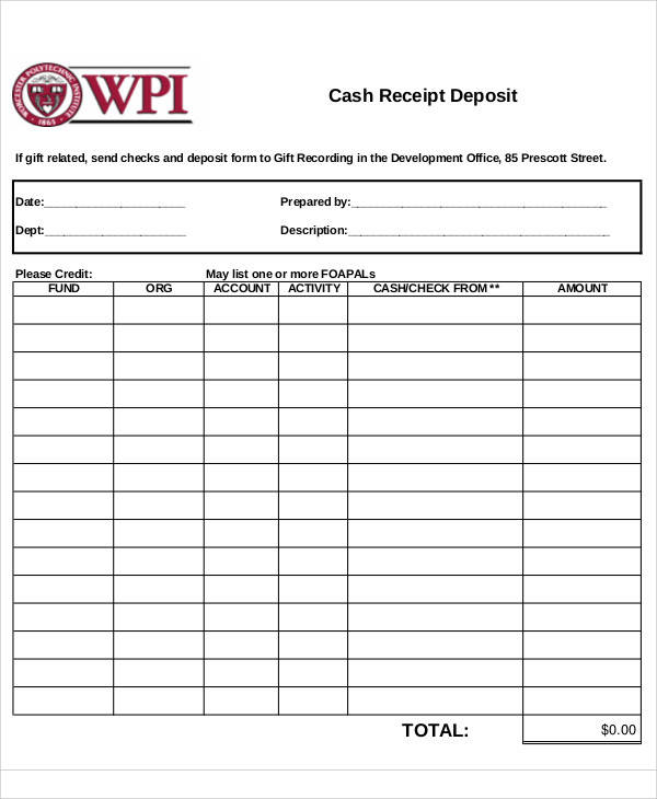 Receipt Forms in PDF