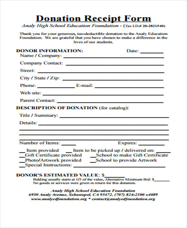 blank donation receipt form1