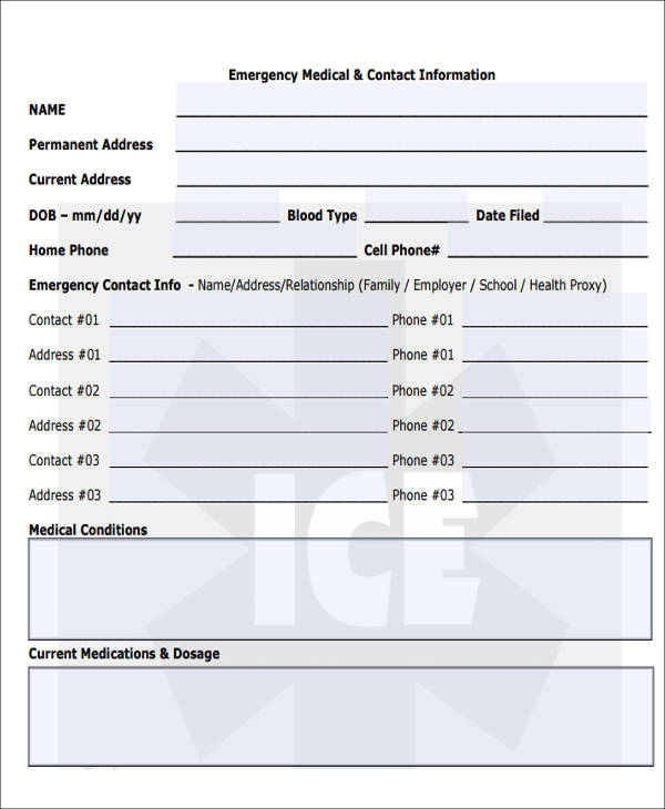 blank emergency medical contact form