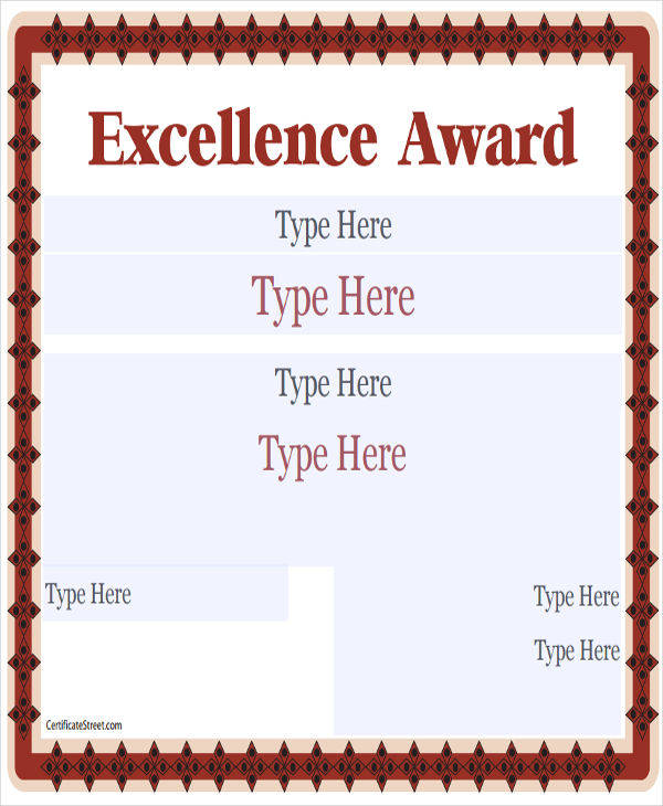 blank excellence award certificate