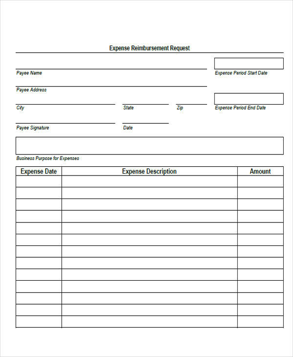 blank expense accounting form