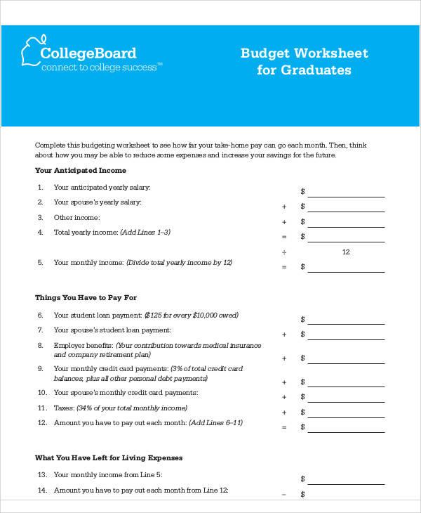 blank graduate budget form