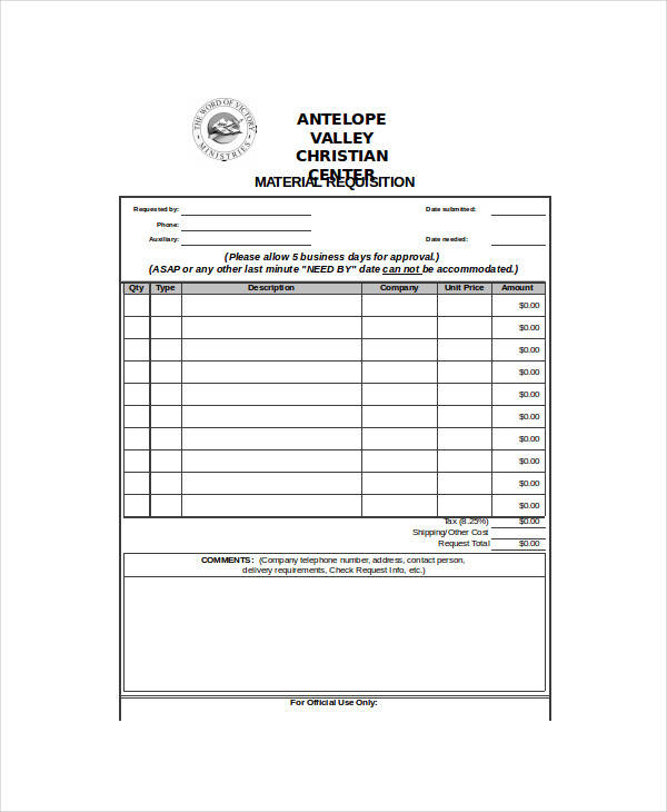 blank material requisition form