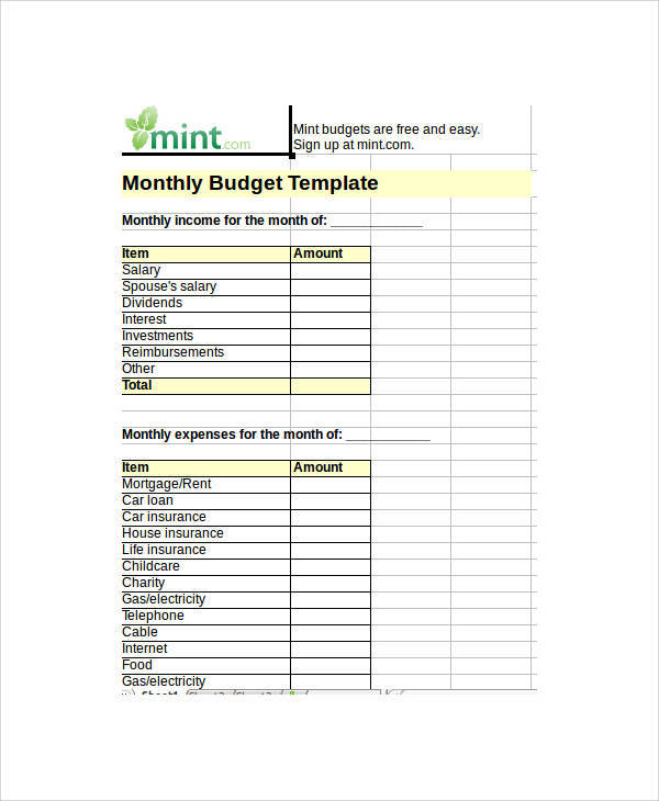 blank monthly spreadsheet