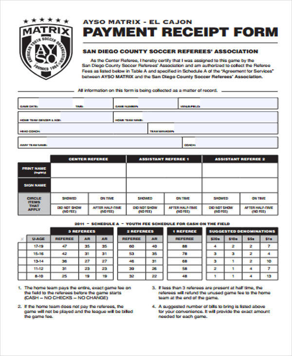 40 Sample Receipt Forms – Payment Receipt Form
