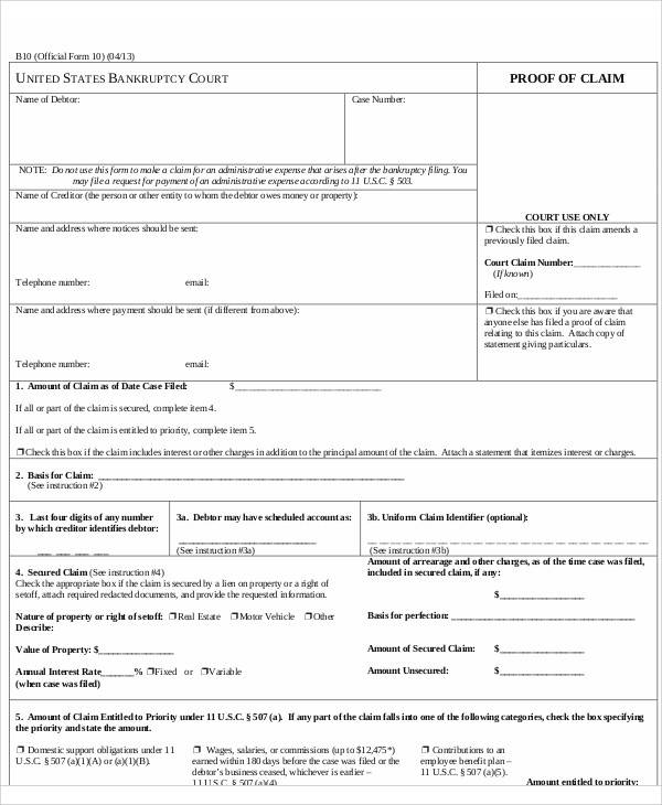 Proof Of Claim Form Free Claim Forms Proof Of Claim Form Bank Of