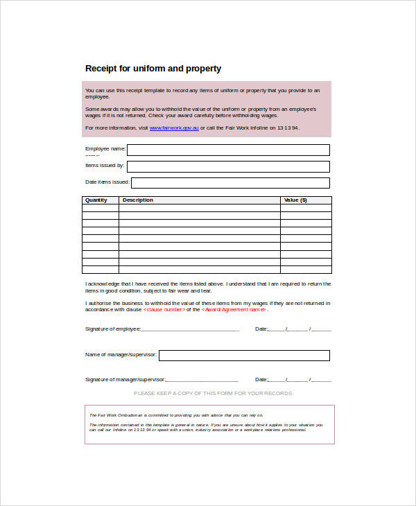 blank property receipt form