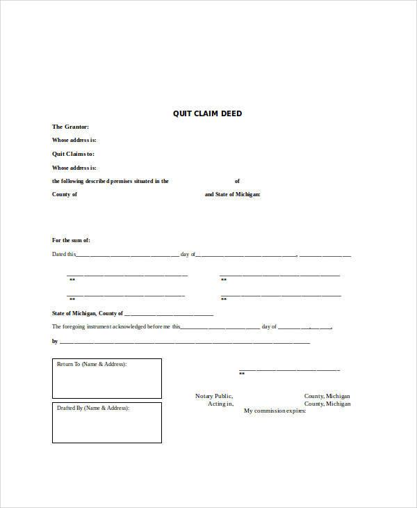 blank quit claim form