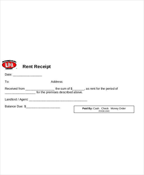 blank rent receipt form