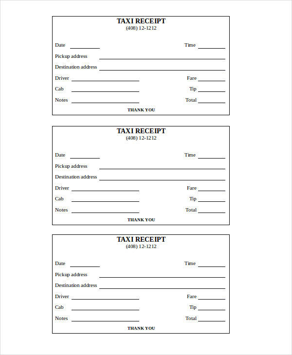 Yellow Cab Taxi Receipt Template