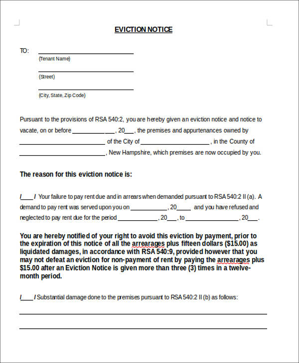 Sample Notice Forms