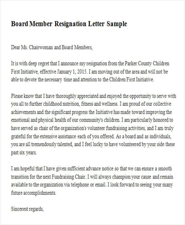 Sample Membership Resignation Letter 5 Examples In Pdf Word