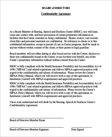 board of directors confidentiality agreement1