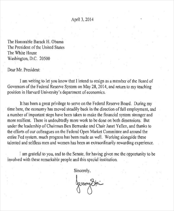 Board Of Directors Resignation  Board Resignation Letter