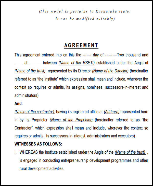 Agreement For Labour Contract. Construction Agreement Forms