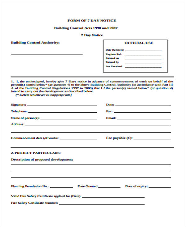 building control notice form