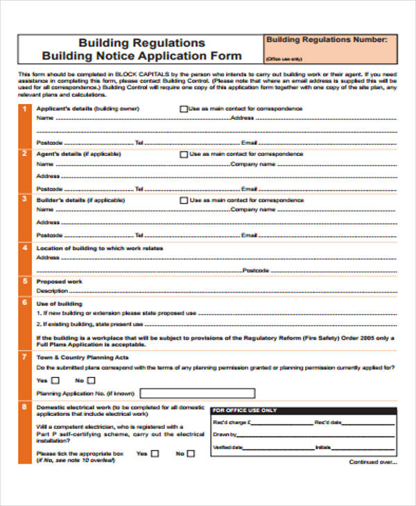 building notice application form