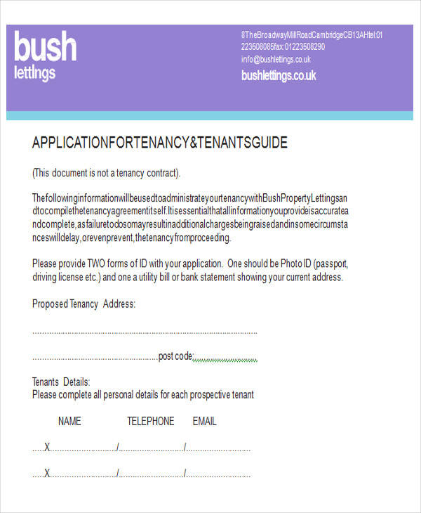 bush tenant application form
