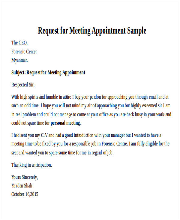 30 formal request letters sample templates business appointment request letter altavistaventures Image collections