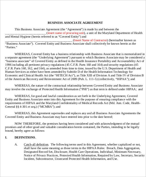 business associate agreement letter