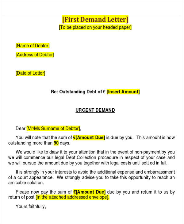 business collection demand letter