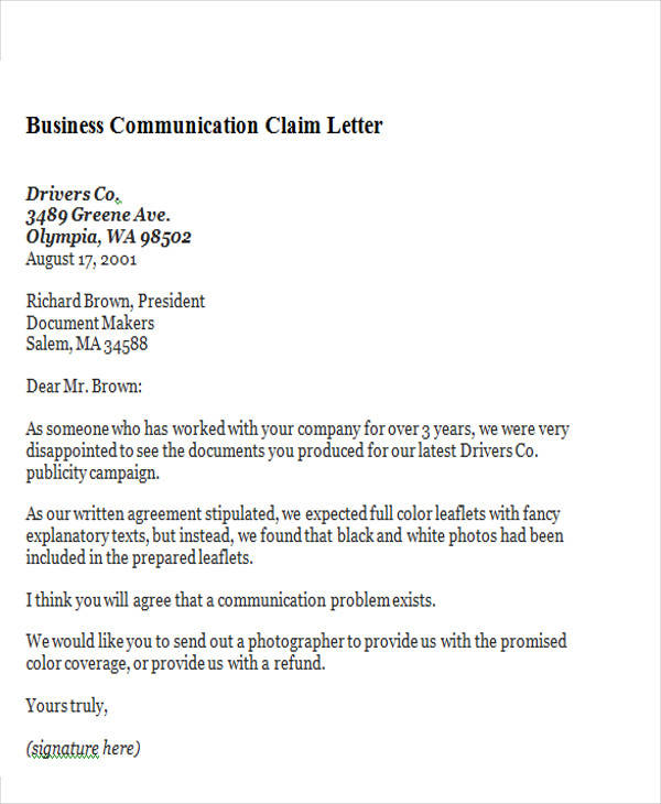 business communication claim letter1