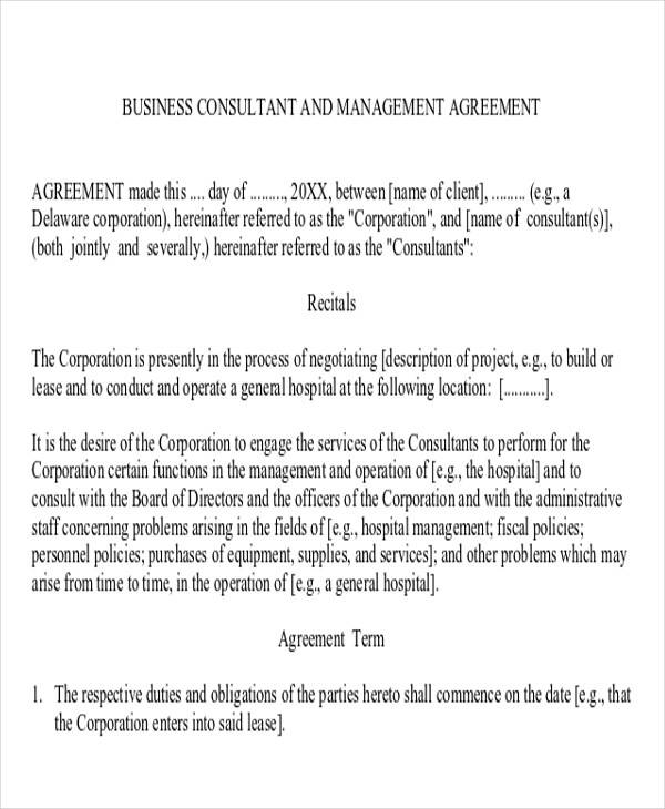 business consulting and management agreement