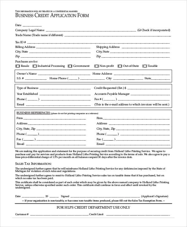 61 simple application forms templates sample templates for Credit applications templates