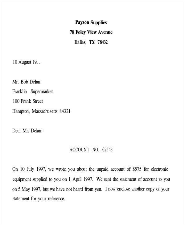 business debt collection letter