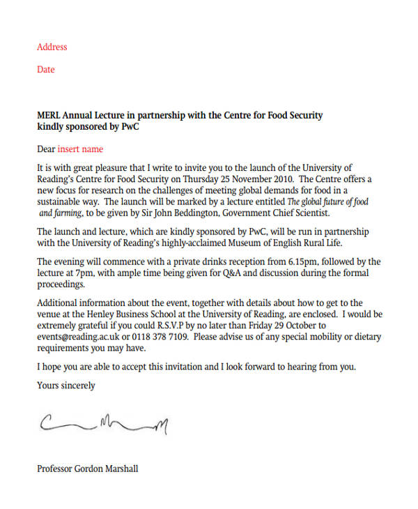 Invitation letter format in english invitationswedd 12 formal invitation letters stopboris Gallery