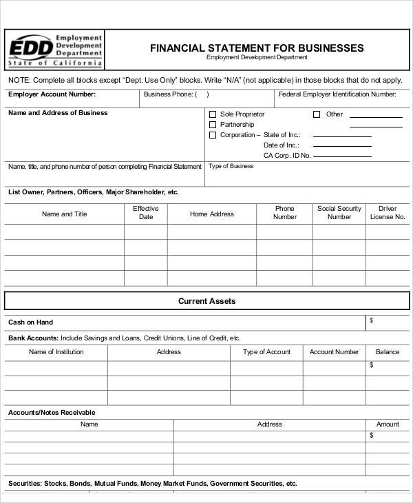business financial statement form3