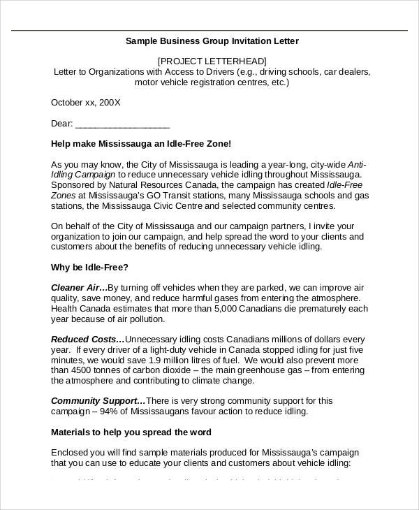 business group invitation letter