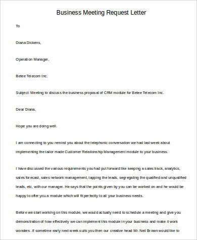 business meeting request letter format