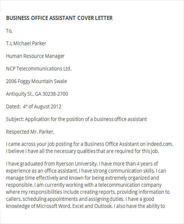 business office assistant cover letter