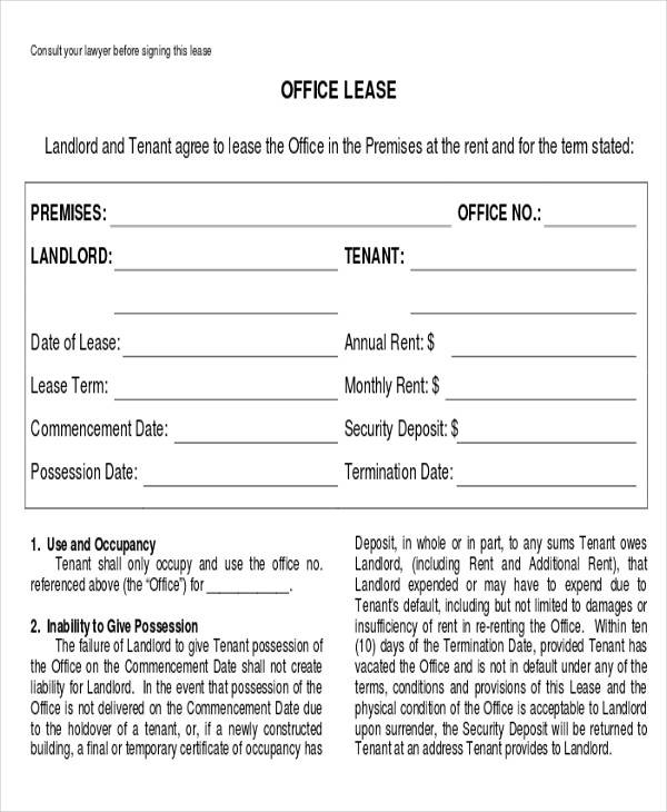business office lease agreement form