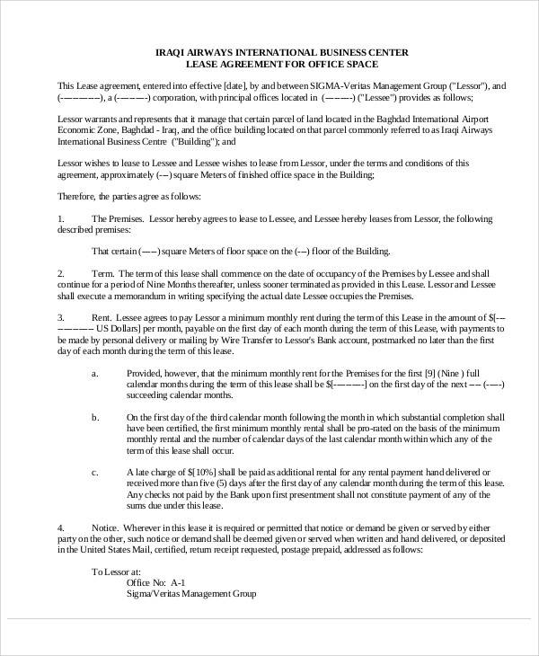 business office lease agreement