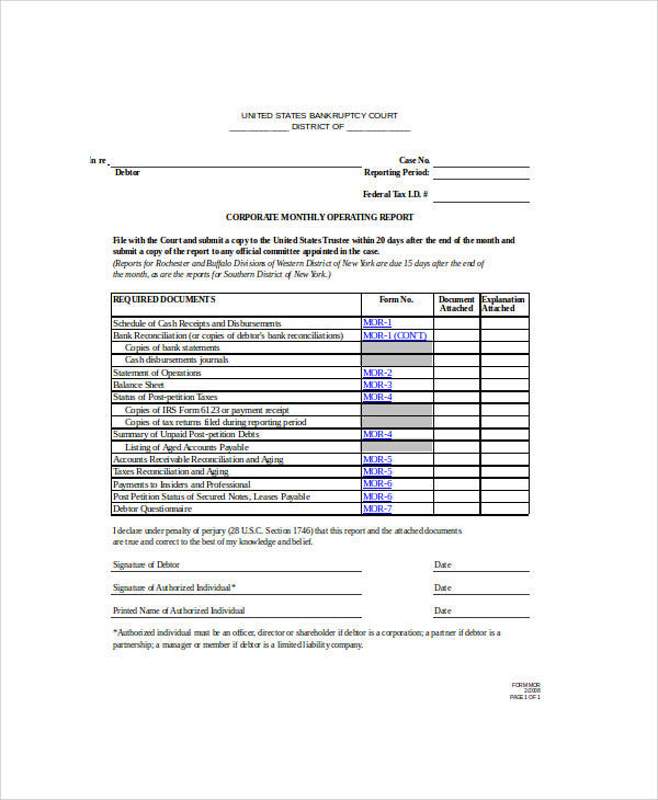 business operating report