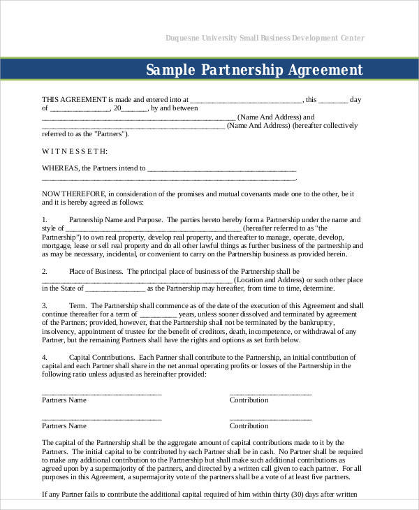 Business Partner Contract Agreement  Partner Contract Sample