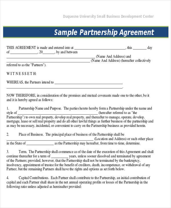 business partnership agreement contract form