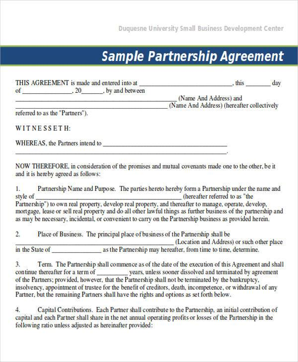 Sample Partnership Agreement For Small Business - Hlwhy